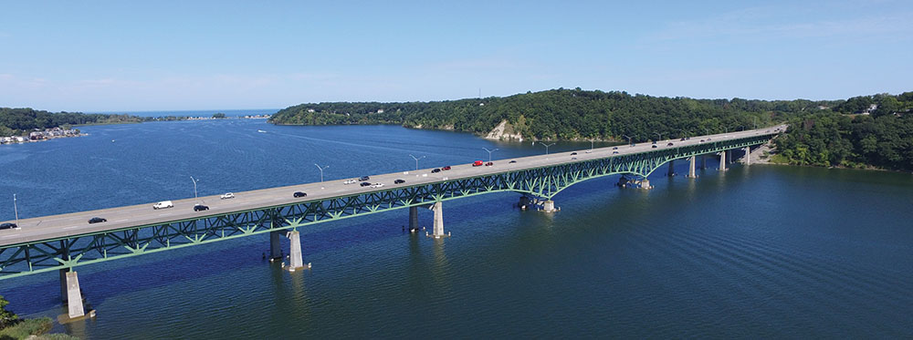 Irondequoit Bay Bridge drone shot
